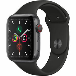 Apple Watch Series 5 44mm Space Gray Aluminum Case Black Sport Band (GPS + CELL)