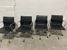 (4 Avail) Herman Miller Eames Aluminum Group Management Chair in Black Leather