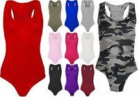 Women's Ladies Sleeveless Racer Back Leotard Stretch Bodysuit Vest Top 8-22
