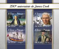 Sao Tome & Principe James Cook Stamps 2018 MNH Exploration Ships People 4v M/S