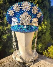 Captain Festival Hat / Sailor Rave Burning Man Blue Sequin Cap Doof Headpiece