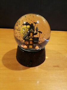 Halloween Haunted House Theme Black Snow Globe Used Collectible Scary Decoration