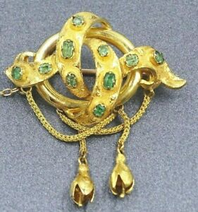 Antique Emerald womens Brooch 9ct Yellow Gold Flower Drops  c1860 Fine Jewelry