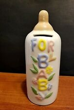 "Ceramic ""FOR BABY"" Baby Bottle Coin Piggy Bank"