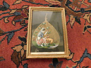 Vtg Hand-Painted Oil Painting Woman w Goat On Pipal Tree Leaf Peepal India Frame