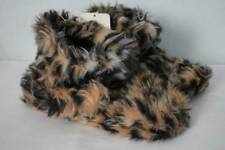 NEW Womens Slippers Small 5 - 6 Booties Faux Fur Leopard House Shoes Soft Sole
