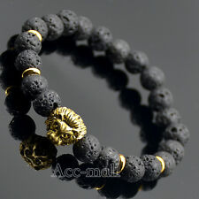 "Fashion Men's Black Lava Gold Lion Head Beaded Yoga Stretch Bracelet 8"" 7.5"""