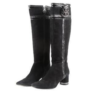 Tory Burch Edith Suede with Snakeskin Embossed Patent Leather Trim Boots Sz 5.5