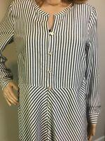 J Jill Button Down Shirt XS Top Tunic Gray And White Stripes Roll Up Sleeve EUC