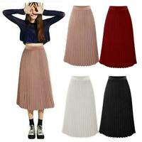 Women's Summer Pleated Chiffon Elastic Waist Double Layer Long Midi Skirt