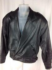 Vintage Andrew Marc Mens Sz S Black Leather Jacket Bomber Motorcycle Snap Soft