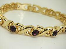 Womens Gold Colour Magnetic Bracelet With Puprle Gem Stones Gift Arthritis X