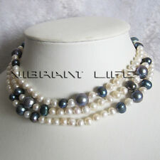 """44"""" 5-12mm White Peacock Multi Color Freshwater Pearl Necklace Fashion Jewelry U"""