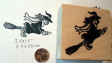 Flying witch  on broom rubber stamp