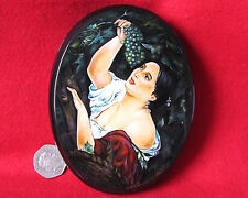 """Russian Hand Painted LACQUER Box K.Brulloff Papier Mache """"Italian Midday"""" signed"""