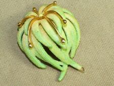 Vintage Gold Tone Green Enamel Sugar Bead Domed Flower Pin Brooch