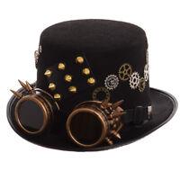 Gothic Vintage Steampunk Gear Rivet Glasses Top Hat Punk Unisex Party Black Hat