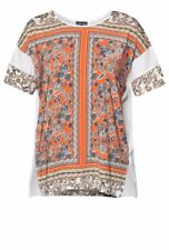 WAREHOUSE  Orange Blocked Paisley Chiffon Insert Top, Size 10 (UK)