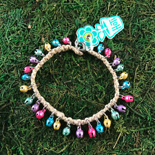 Pastel Bells Anklet Ankle Bracelet Nwt Hoti Hemp Handmade Natural Multi Colour