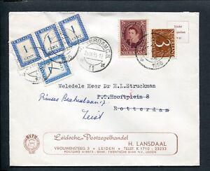 1956 envelop Leiden naar Rotterdam; doorgezonden naar Zeist met PORT P 80 + 85