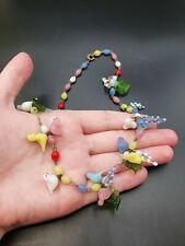 Bird, Grapes And Leaf Necklace Vintage Antique 1930s Rare Czech Glass
