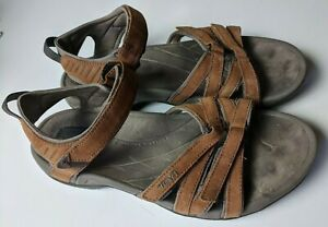TEVA TIRRA BROWN WP LEATHER STRAPPY SPORTY/ WATER SANDALS, US 9.5/ EUR 40.5