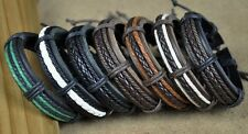 7PC Cool Classic Leather Hemp Braided Charm Bracelet Wristband Cuff HOT