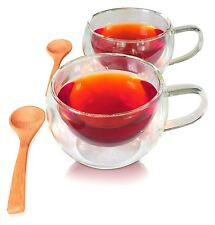 Tea Cup Glass Coffee Cup Mug 2-Pack w/ 2 Spoons Double Insulated
