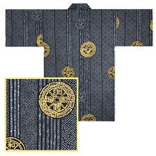"JAPANESE 36""L HAPPI COAT KIMONO ROBE ANCIENT COIN BLACK MADE IN JAPAN"