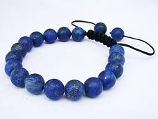 Men's Bracelet all 10mm LAPIS LAZULI gemstone natural beads frosted