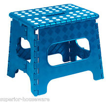 "Superio Folding Step Stool with Anti-Slip Surface 11"" (Blue)"