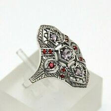 Amethyst Ring #54 Amethyst & Ruby Synth. 925er Silver Bargain