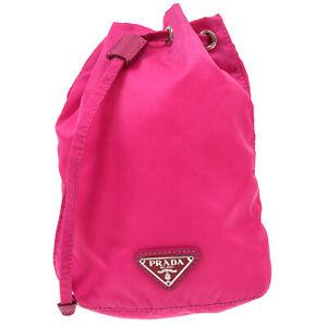 PRADA Drawstring Pouch Hand Bag Purse 42 Pink Nylon Italy Authentic 83515