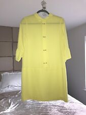Zara Lemon Yellow Pastel Crystal Button Chiffon Shirt Dress Med 10/12