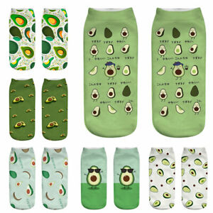 1 Pair Original Avocado 3D Printing Socks Printing Happy Leisure Ankle Socks