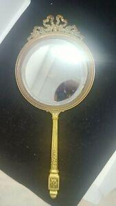 Face à Main ou Miroir mural Louis XVI en bronze doré, XIXe