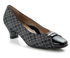 Beautifeel April Black Linen Print Suede Patent Leather Comfort Pumps Size 36