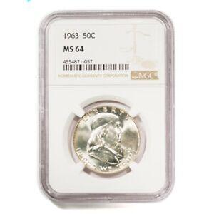 1963 U.S. Franklin Half Dollar graded MS 64 by NGC no. 4554871-057