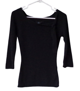 Luxe Arden B Black Soft 100% Cashmere Sweater Jr Sz S 3/4 Sleeve Side Neck Ties