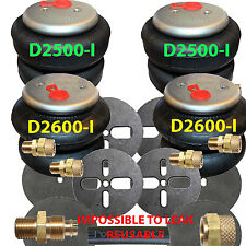 "4 25/2600 Air Bags 1/2"" Fittings Airhose Springs Suspension w/Circle Brackets"