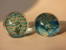 PAIR COLLECTABLE MURANO LEAD ART GLASS MARINE SEA ANEMONE CORAL PAPERWEIGHTS