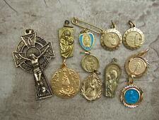 Lot of 11 Medals Catholic Religious Crucifix Saints Mary Goldtone blue enamel