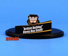 Wwe Mattel Elite Legends British Bulldog Name Tag and Stand Lot Accessory_s09