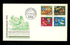 Postal History Germany Fdc #B481-B484 Children animals birds 1972