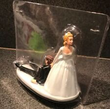 "WEDDING HUMOR CAKE TOPPER BRIDE DRAGS GROOM TO ALTAR 6"" Tall"