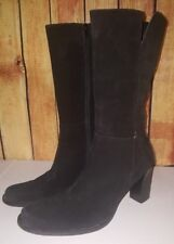 Banana Republic Black Suede Leather High Heel Zip Mid Calf Boots Womens Size 9.5