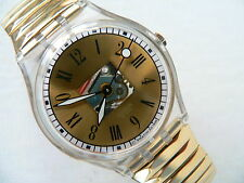 1997  Swatch Watch Standard Big Nomisma Roman numbers GK256 New