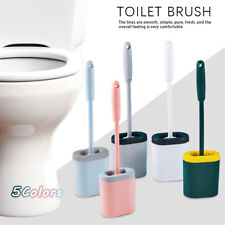 Silicone Soft Bristle Toilet Bathroom Brush and Holder Included Easy Clean Set