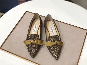 Jimmy Choo Women's Glittering Shoe Flat Pointed Toes with Bow Size Euro 38 UK 5