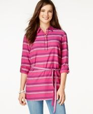 Tommy Hilfiger Striped Belted Tunic Magenta Magic XL